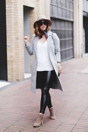 heather gray wool Aritzia coat - black leather pants Aritzia leggings