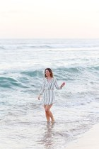 white striped Aritzia dress