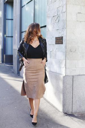black leather jacket Mackage jacket - tan suede Aritzia skirt