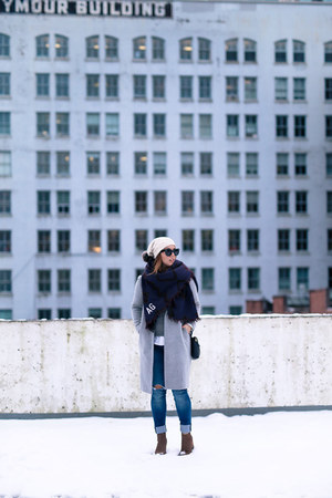 deep purple blanket scarf Aritzia scarf - heather gray wool Aritzia coat