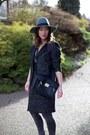 Charcoal-gray-menswear-h-m-coat-teal-fedora-brixton-hat