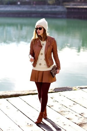 ivory toque Club Monaco hat - brown leather jacket Forever 21 jacket