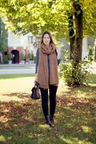 black 31 Phillip Lim bag - camel knit Zara scarf - sky blue dotted Zara top