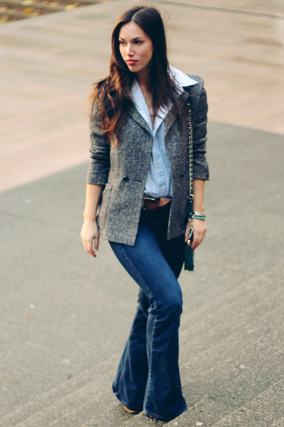 navy flare Old Navy jeans - heather gray tweed Shoppalu blazer