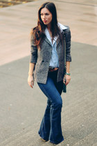 navy flare Old Navy jeans - heather gray tweed Shoppalu blazer