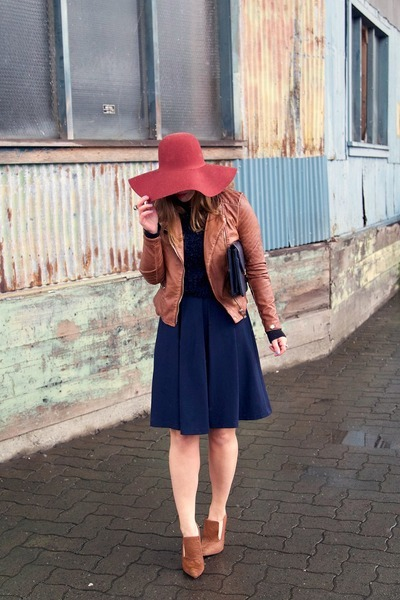 brick red floppy hat H&M hat - brown leather jacket Forever 21 jacket