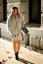 silver silk Obakki dress - silver wool Obakki jacket - white two-tone ROOTS bag