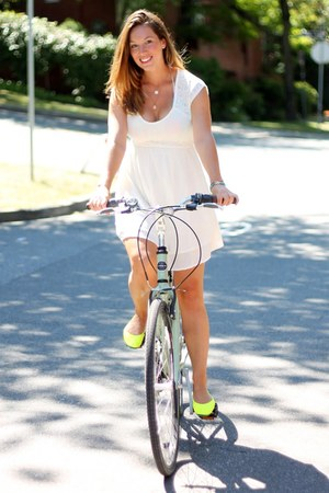 white ONeill dress - lime green ballerina Tieks flats