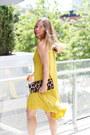 Gold-flowy-h-m-dress-brown-clutch-club-monaco-bag