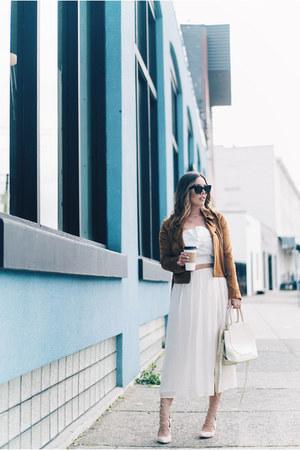 white silk Aritzia skirt - brown suede Revolve jacket