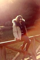camel parka vintage vintage coat - navy skinnies Fidelity Denim jeans