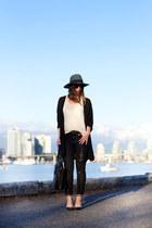 black skinny jeans James Jeans jeans - teal fedora brixton hat