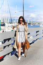 white striped Aritzia dress - tan trench coat Aritzia coat
