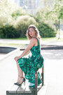 Green-printed-zara-dress-black-ankle-strap-sole-society-heels
