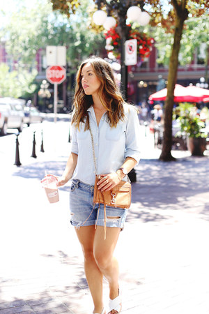 light blue chambray Old Navy shirt - sky blue denim shorts Gap shorts