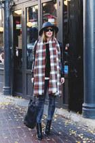 red plaid Joe Fresh scarf - black ankle boots Zara boots