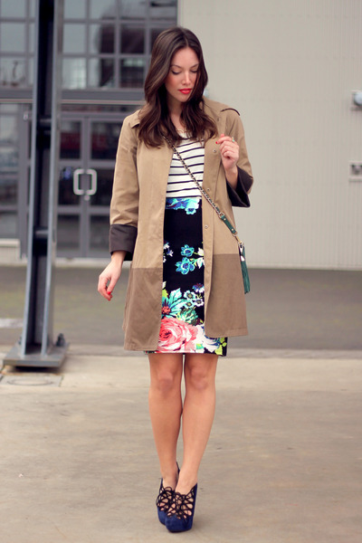 black pencil floral H&M skirt - camel Club Monaco coat