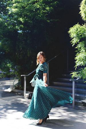 dark green maxi dress Revolve dress