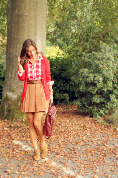 red banana republic cardigan - burnt orange Club Monaco skirt - red Gap top