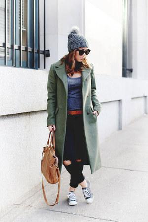 dark green Simons coat - black skinny jeans Mavi jeans - brown leather ROOTS bag