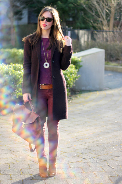 amethyst Club Monaco top - maroon cashmere Aritzia coat