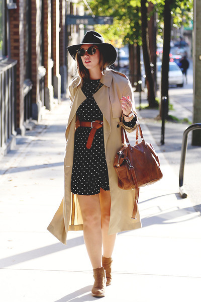black polka dot Joe Fresh dress - tan trench coat Aritzia coat