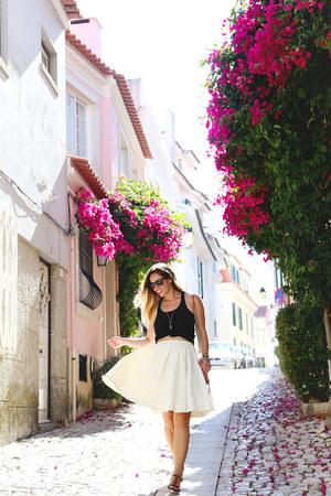 black silk Joe Fresh top - white pleated Obakki skirt