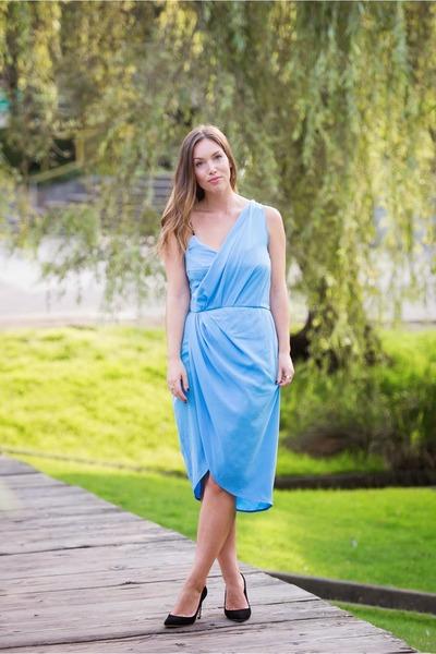sky blue draped Obakki dress - black suede JCrew heels