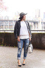 Teal-fedora-brixton-hat-black-leather-jacket-walter-baker-jacket