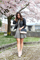 silver mesh Zara dress - black leather jacket Walter Baker jacket
