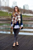 red plaid H&M scarf - gray skinny jeans James Jeans jeans