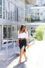 White-oxford-peau-de-loup-shirt-dark-green-pencil-skirt-gentle-fawn-skirt