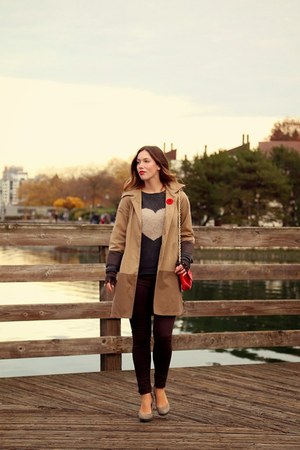 charcoal gray heart Plenty sweater - camel color block Club Monaco coat