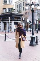 tan wool Aritzia coat - navy blanket Aritzia scarf