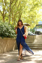 navy maxi Gentle Fawn dress - red leather Mary Nichols bag
