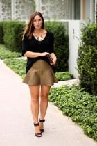 mustard Club Monaco skirt - black slouchy Loft 82 sweater