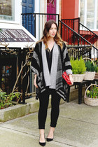 heather gray cardigan Gentle Fawn sweater - black poncho Gentle Fawn sweater