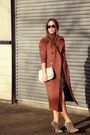 Olive-green-silk-club-monaco-dress-brick-red-wool-obakki-coat
