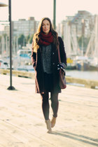 crimson little burgundy scarf - tawny H&M boots - navy Club Monaco dress