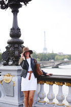 light brown floppy hat monoprix hat - white cotton JCrew dress