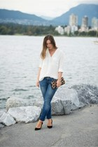 white blouse H&M shirt - light blue skinny jeans Gap jeans