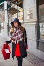 Red-feminine-h-m-dress-gray-wool-h-m-coat-gray-wool-french-connection-hat