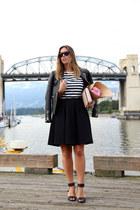 black leather jacket Walter Baker jacket - white striped H&M shirt