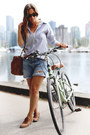 White-oxford-peau-de-loup-shirt-sky-blue-denim-shorts-gap-shorts