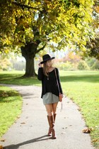 black fedora H&M hat - brown riding boots Sole Society boots