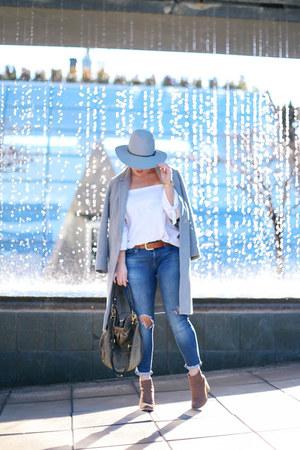 heather gray wool Aritzia coat - blue skinny jeans Mavi jeans