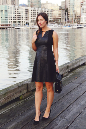 black leather Vince Camuto dress