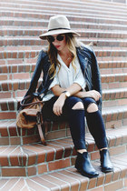 black distressed James Jeans jeans - black leather jacket Walter Baker jacket