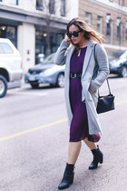 deep purple silk Aritzia dress - black ankle boots Frye boots