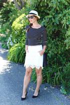 white lace Joe Fresh skirt - white fedora Aritzia hat - black striped H&M shirt
